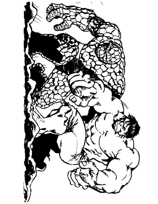 The thing and incredible hulk coloring page free for The hulk coloring pages