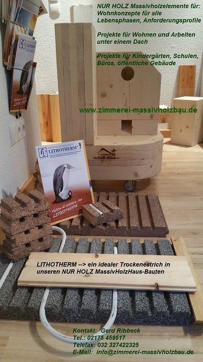 LITHOTHERM - eine Bodenheizung mit niedrigen Vorlauftemperaturen und direkten Kontakt zum Bodenbelag - Schalltechnisch bringt das LITHOTHERM-System die notwendige Masse auf Holzdecken und im weiteren eine erhebliche Schallreduzierung durch zahlreiche Unterbrüche zwischen den LITHOTHERM-Formplatten - Das LITHOTHERM-System ist ebenso in der Boden- bzw. Wand-KÜHLUNG einsetzbar!  Info: http://www.zimmerei-massivholzbau.de/empfehlungen-und-consulting.html