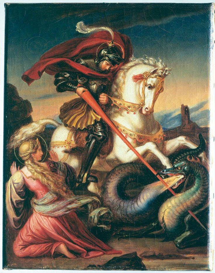 Sexy Beauty and the Beast Art | Carl Joseph Begas d.Ä., Hl. Georg im Kampf mit dem Drachen, 1828, ca ...
