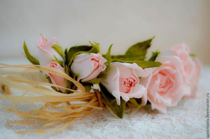 Купить Ободок..Романтическое свидание.. - бледно-розовый, ободок для волос, цветы ручной работы, розы