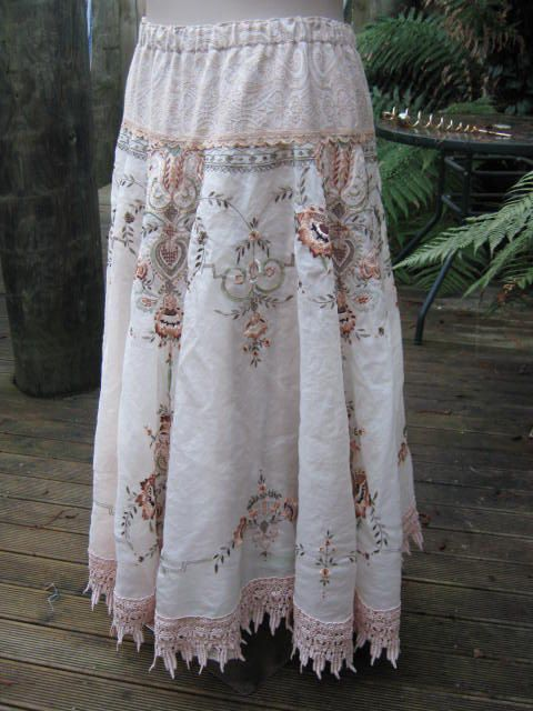 vintage embroidery.. stunning upcycled cloth.. intricate design.. rust, sage, ecru, full circle skirt .. Vintage Kitty.. MED - LGE