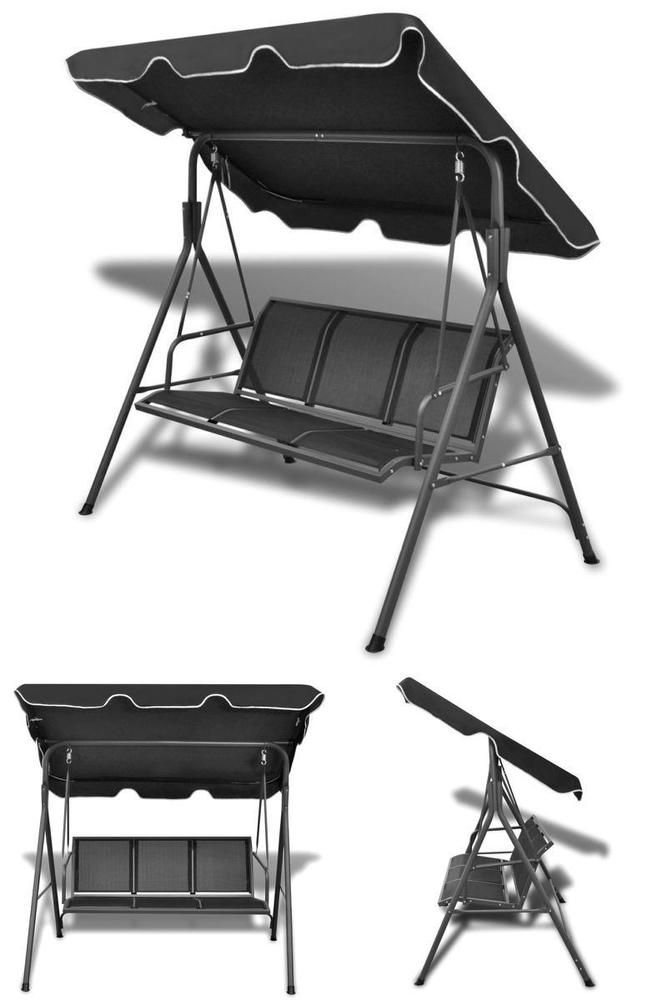 Black Outdoor Swing Seat Metal Garden Patio Canopy Chair 3 Seater Sofa Bench