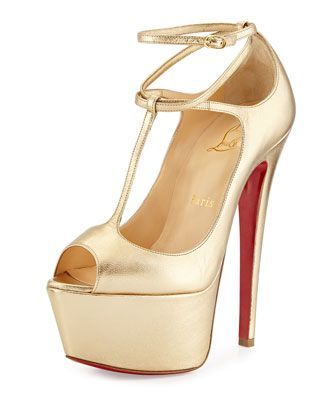 Talitha Platform Red Sole Pump, Gold by Christian Louboutin at Neiman Marcus .