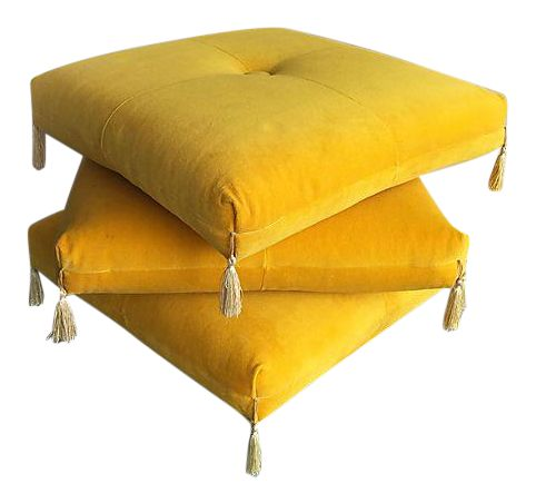 Yellow Ottoman On Casters   3 Levels
