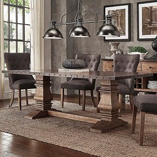 Voyager Wood And Zinc Balustrade 84 Inch Rectangle Dining Table By INSPIRE  Q Artisan (Table Only), Brown, Size Single