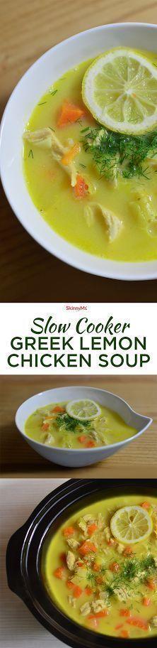 Slow Cooker Greek Lemon Chicken Soup