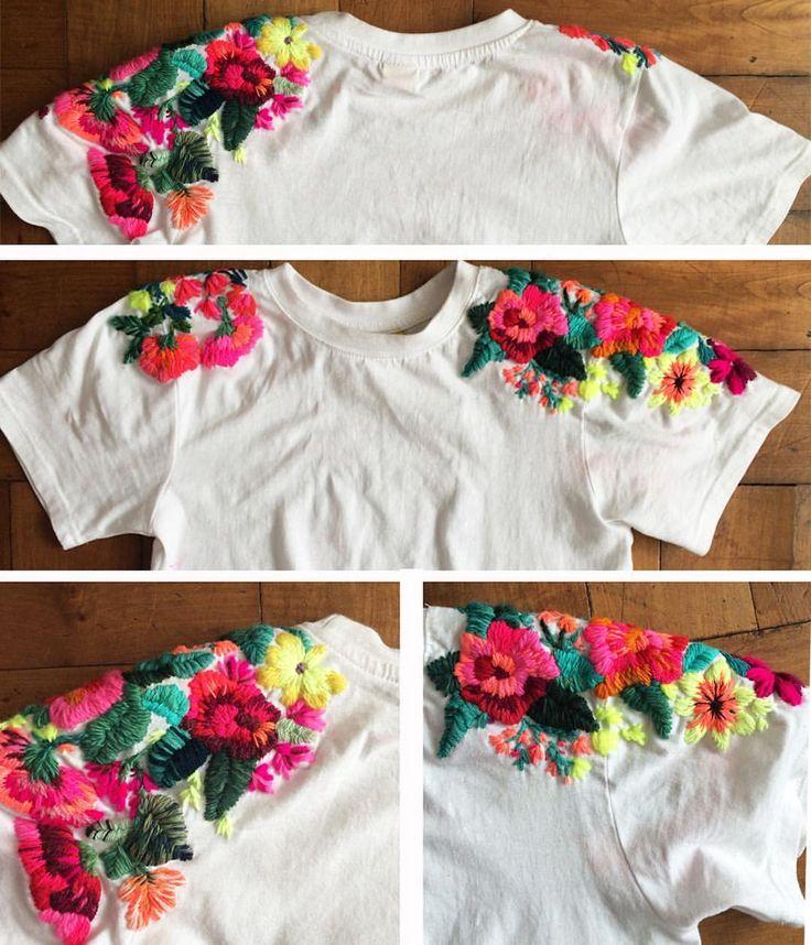 "361 Beğenme, 32 Yorum - Instagram'da @ignaciajullian: ""Oficialmente terminada! ❤️❤️❤️❤️❤️❤️ . . . #amor #colorful #color #embroideredtshirt #embroidery…"""