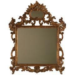 "Ornate 18th Century Italian Baroque ""Cameo"" Mirror with Original Gilding"
