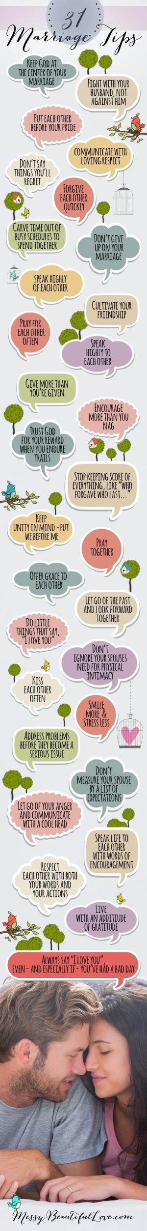 31 Marriage Tips! Maybe I can print out & put in a jar & we read one every day! by bleu.