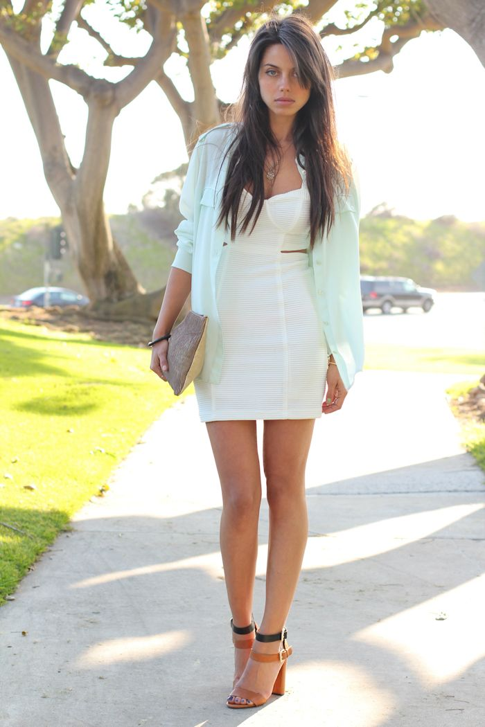 mint green shirt x cutout dress: High Heels Sandals,  Minis, Summer Style, Soft Colors, Fashion Outfits, Equipment Blouses, White Dresses Shirts, Lights Colors, Mint Blouses