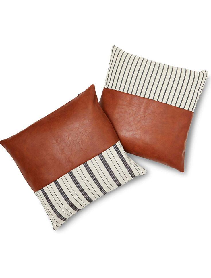 Bohemianrustic farmhouse faux leather pillowcase set