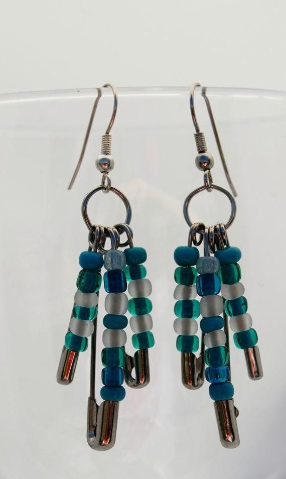 Safety pin beaded dangle earrings. Craft ideas from LC.Pandahall.com