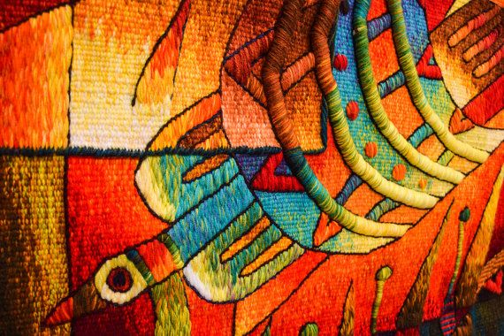 Handwoven Peruvian Tapestry, Birds, Square, Wall Hanging, Alpaca, Tapestries by…