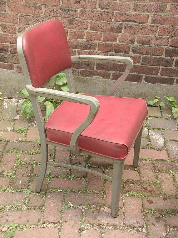 Vintage 1950's office chair, Steelcase chair, steel