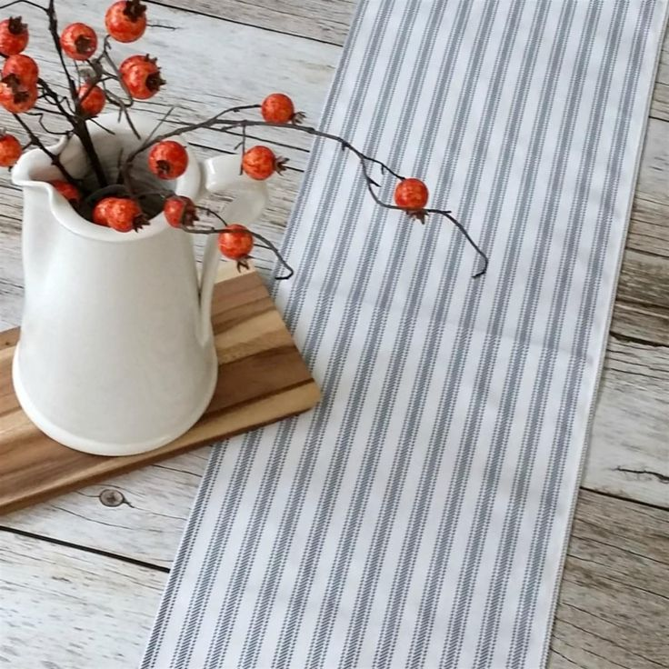 Farmhouse Ticking Table Runner Farmhouse table runners