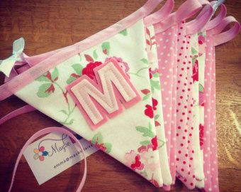 Personalised name bunting in pinks