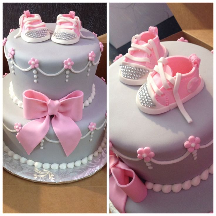 Pink baby converse with bling  Pink and gray baby shower cake  annacakes.com