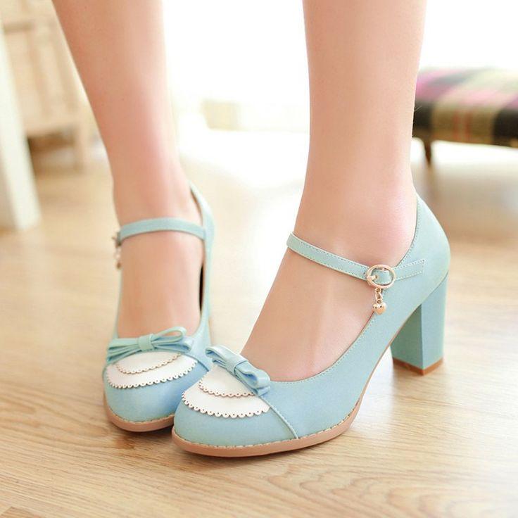 2015 para mujer de cuero, plataformas, moda de la señora Lolita Sexy arco zapatos de tacón alto de las bombas mujeres zapatos de boda de tamaño 34 43 en Bombas de las mujeres de Calzado en AliExpress.com | Alibaba Group
