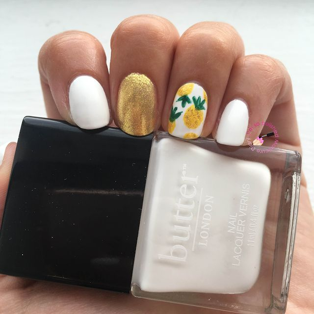 Butter London Cotton Buds with pineapple nail art #manicurediary