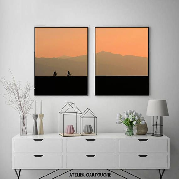 Symmetry Photography Sunset mountain bike Print Scenery