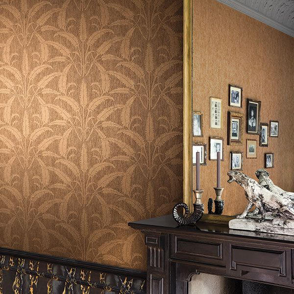 Here's a great example of metallic wallpaper. This warm gold patterned wallpaper with plain metallic texture creates a warm inviting space with a touch of luxury. Emporia Collection by Galerie - EM17024R