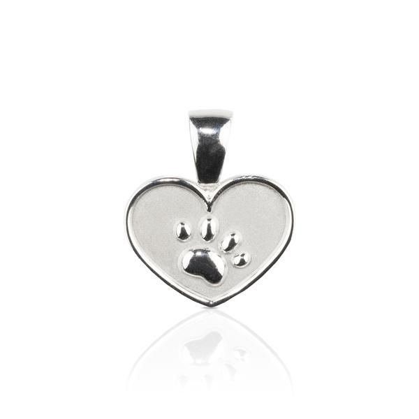 Dog themed jewellery - Paw on Heart Sterling Silver Pendant