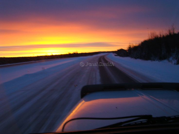 Sunrise in Alberta while driving my big rig to make a delivery in Edmonton. http://www.paulsmithgallery.ca