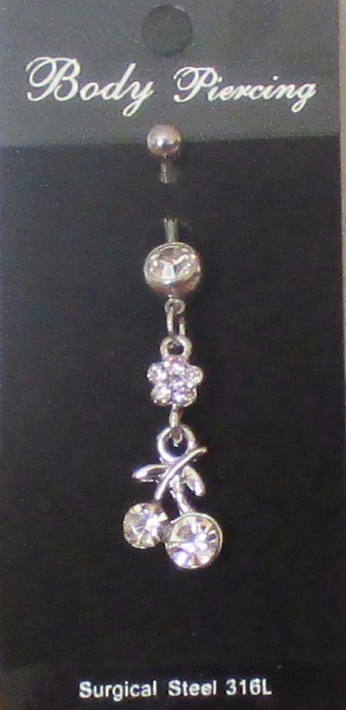 piercing percing nombril fleur cerises cristal flower cherry cristal acier 316L
