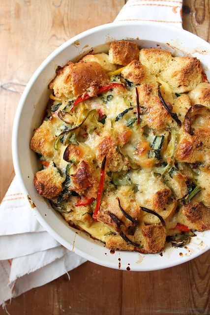 savory bread pudding by the little epicurean, via Flickr. I have a whole loaf of Boudin sourdough just sitting at home