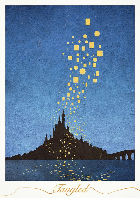 Tangled castle and lanterns from minimalmovie posters/hindhede on flickr