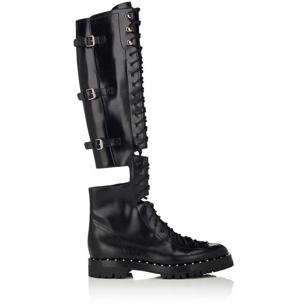 Valentino Women's Rockstud Leather Over-The-Knee Combat Boots (€2.095) ❤ liked on Polyvore featuring shoes, boots, black, over-the-knee boots, leather thigh high boots, black over-the-knee boots, over-the-knee lace-up boots and over the knee thigh high boots