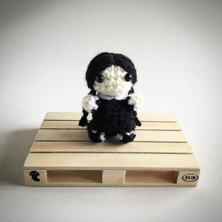 Wednesday Addams from the Addams Family Crochet Amigurumi Plush @lemonyarncreations