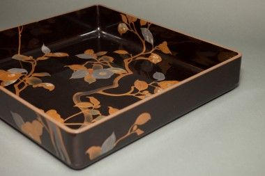 A4726- Japanese Black Lacquer Kimono Tray with Camilla Design in Gold and Mother of Pearl