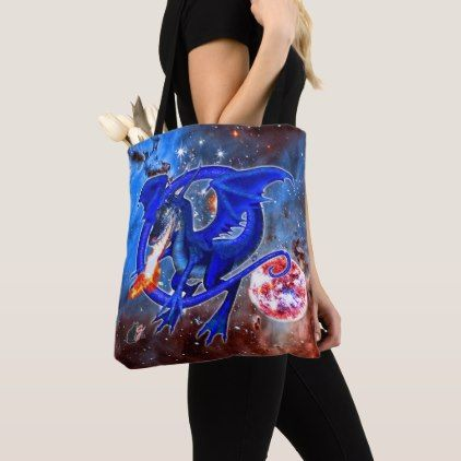 Azurite Cosmic Dragon Tote Bag  $21.10  by greg_lloyd_arts  - cyo customize personalize diy idea