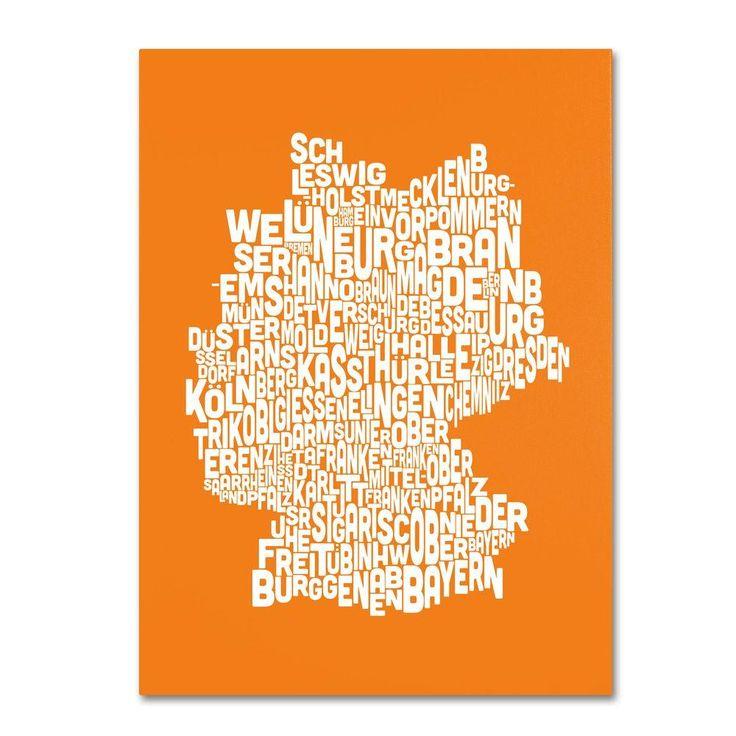 30 in. x 47 in. Germany Regions Map - Orange Canvas Art