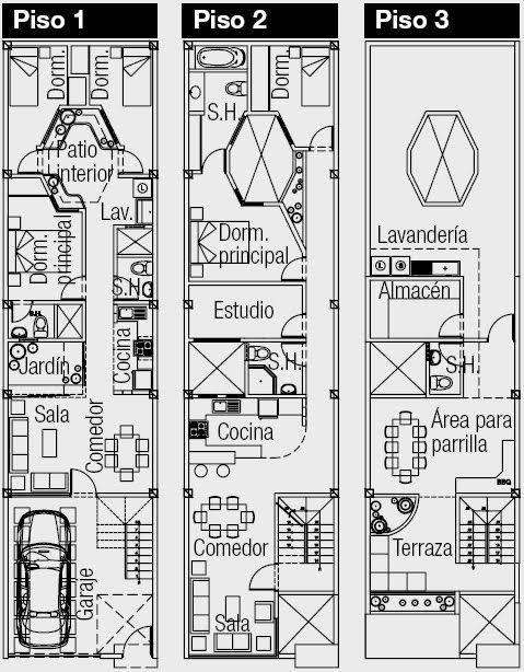Planos de casa de 180 metros cuadrados con 133 m2 de terreno 3 dormitorios y cuarto de servicio   Planos de Casas #casasminimalistasdeunaplanta