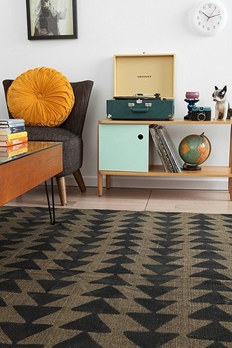 Magical Thinking Triangle Chain Rug // for living room, there are other colors also (black and white + grey and white)