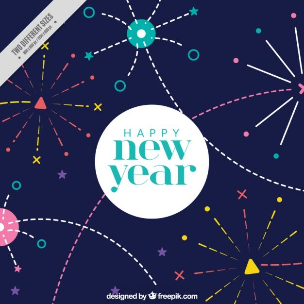 Colorful background with funny fireworks for new year Free Vector