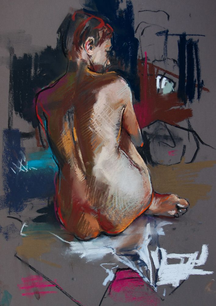 "crawfurd adamson Sitting on the floor  pastel 28"" x 21"""