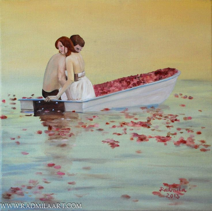 "Oil painting ""Couple on boat"", 40*40 cm. Artist - Radmila Filimonova"