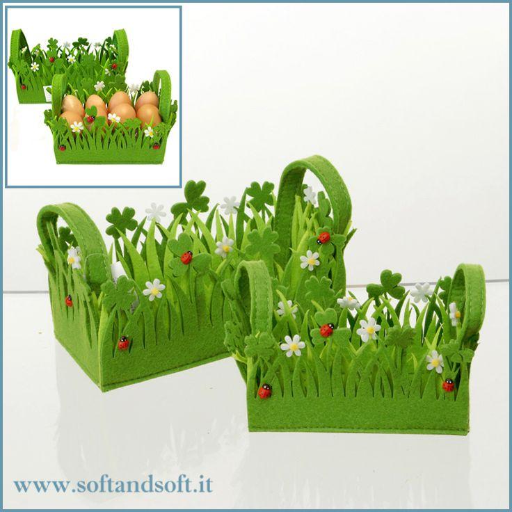 Bellissimo cestino in Feltro bicolore per le uova di Pasqua, in due divese dimensioni!