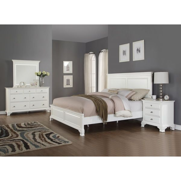 Laveno 012 White Wood Bedroom Furniture Set, Includes Queen Bed, Dresser,  Mirror And
