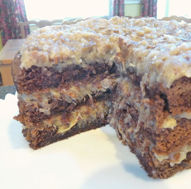 Made from scratch German Chocolate Cake..I like lots of icing so I double the icing...