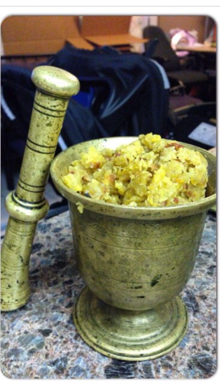 Dominican mofongo soooo good!!! Mashed plantain, bacon and lots of garlic!!