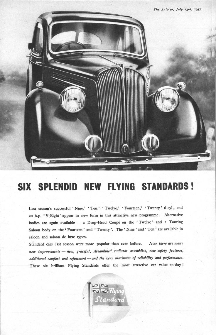 Flying standards motor car autocar advert 1937