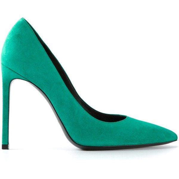 SAINT LAURENT 'Classic Paris' pumps (£371) ❤ liked on Polyvore featuring shoes, pumps, heels, high heels, black high heel pumps, high heel shoes, mint pumps, black pointy-toe pumps and black shoes