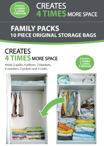10 PACKS - AW Vacuum Storage Bags - Set of 10 (2 Jumbo - 3 Large - 5 medium) - 72 Hours Extreme Value Buy