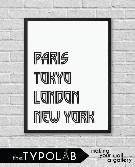Typography Poster Art Print/Paris Tokyo London New by theTypolab