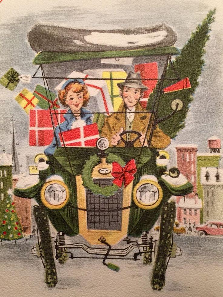 1950s City Couple Vintage Car Auto Tree Gifts Art Deco Norcross Christmas Card