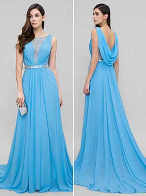 TS Couture® Formal Evening Dress A-line Scoop Court Train Chiffon with Beading – USD $ 315.00